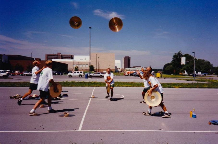 Practicing the cymbal toss during '95 Finals week.