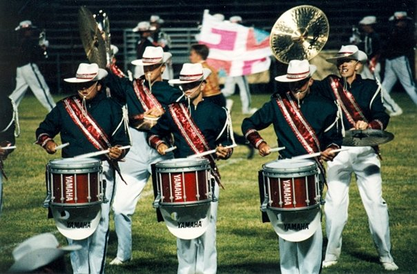 Snares and cymbals during the classic 1995 Madison Scouts show (Tom is on the right side)