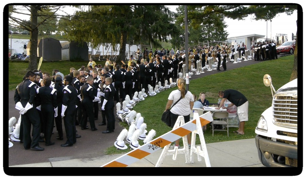 The Crossmen line up prior to their performance in Allentown, Pennsylvania in 2012